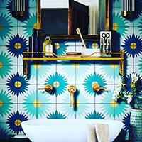 Floral tile in a bathroom