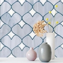 Heart shaped tile backsplash.