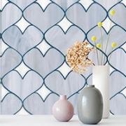 Heart shaped tile backsplash.