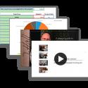 Screenshots showcasing the JH Design Subscription benefits - budget planning tools, design guide, and webinars.